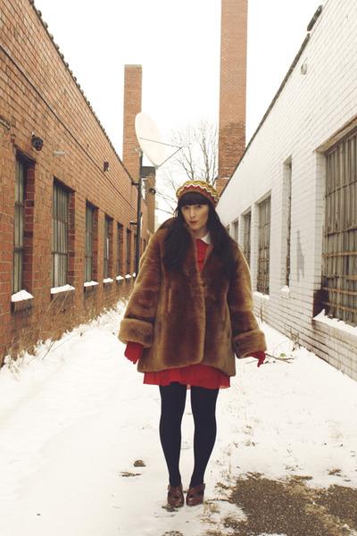 red vintage dress - fur vintage coat