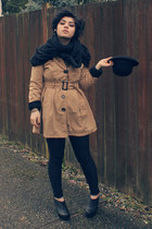tan H&M coat - black American Apparel scarf - black American Apparel pants