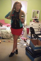 red H&M skirt - black ribs and heart delias t-shirt