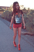 black JNAVA t-shirt - ruby red thrifted shorts - red Jeffrey Campbell heels