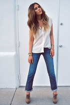 navy denim jeans Doctrine Denim jeans - ivory silk flowy Forever21 blouse