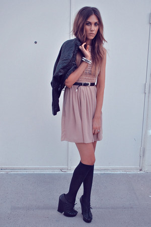 nude chiffon American Apparel dress - black leather jacket H&M jacket