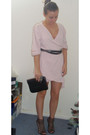 Pink-vintage-cardigan-black-siren-shoes-black-vintage-purse-silver-armour-