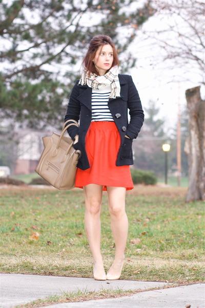 red J Crew skirt - navy ana pires jacket - white J Crew sweater
