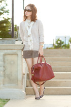 maroon Givenchy purse - brown kate spade shoes - beige Hayden sweater