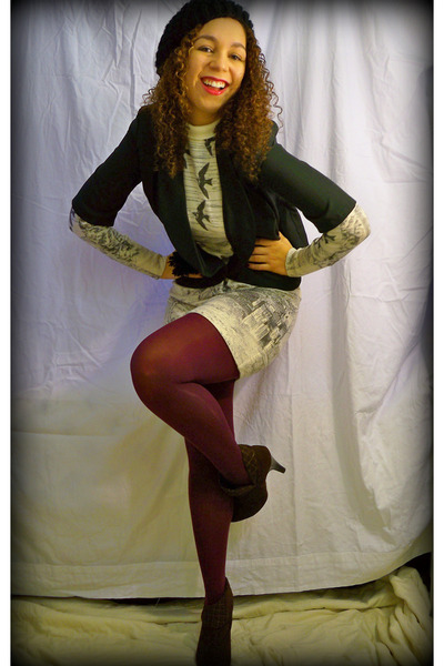 white dress - purple tights - brown boots - black blazer - black hat - black acc