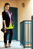 chartreuse Lush blouse - black Forever 21 blazer - black Boutique Find purse