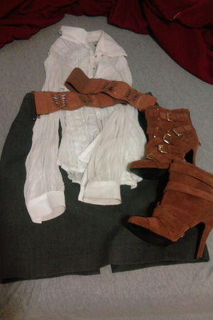 white blouse - gray Express skirt - orange Charlotte Russe boots