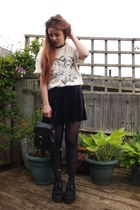 black backpack Primark bag - black velvet Matalan skirt