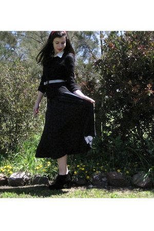 black david lawerence dress - black Witchery sweater - white vintage belt