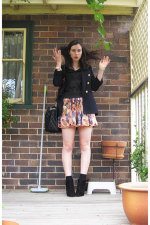pink Dotti skirt - black top - Forcast blazer - Sportsgirl purse