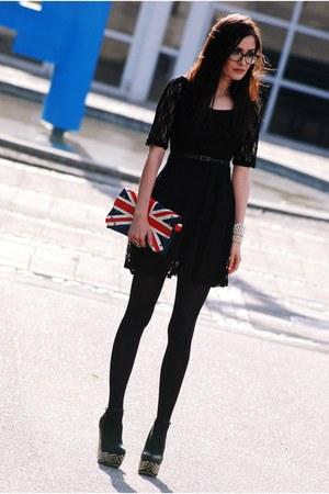 black lace Zlz dress - black VJ-style wedges