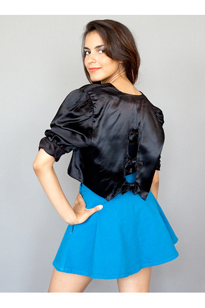 blue American Apparel skirt - black bolero California Select jacket