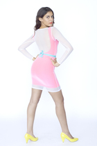 white mesh mini American Apparel dress - pink mini dress American Apparel dress