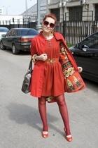 orion london dress - UK design coat - H&M leggings - giovanni shoes - YSL purse