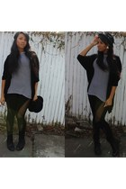 white American Apparel cardigan - h&m mens hat - Thrift Store leggings