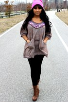 heather gray free people top - brown Target boots - bubble gum Topshop hat