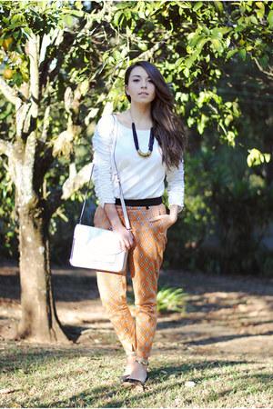 printed Zara pants - Parfois bag - Zara flats