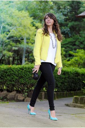 neon Zara blazer - classic black Levis jeans - Michael Kors purse