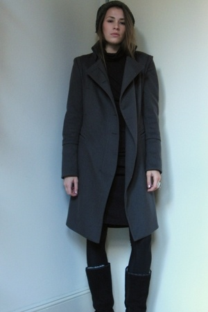 Zara coat - Forever21 dress - under armor tights - boots - hat