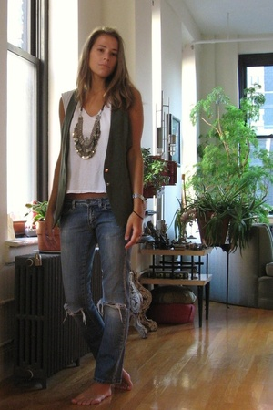 green privee vest - blue Forever 21 jeans - white altered Hanes t-shirt