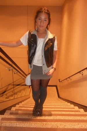 Forever 21 top - H&M skirt - Mudd vest - MaxAzria vest - thrifted bag - H&M sock