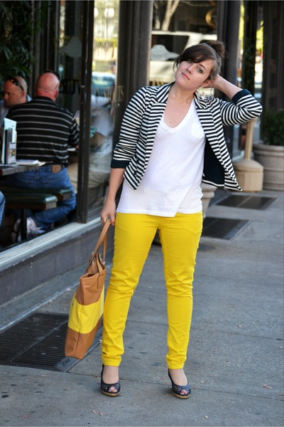 yellow skinny Forever 21 jeans - yellow tan tote Express bag
