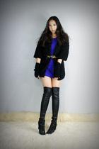black style2bb3 jacket - black style2bb3 shoes - blue style2bb3 dress