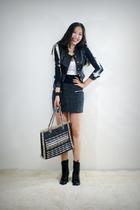 black style2bb3 jacket - gray style2bb3 skirt - black style2bb3 purse - black st