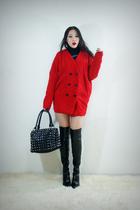 red style2bb3 coat - black style2bb3 purse - black style2bb3 dress - black style