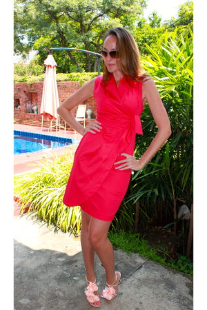 hot pink pink wrap dress dress
