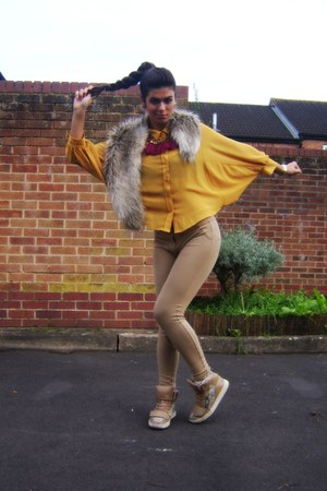 mustard new look blouse - camel fur H&M scarf