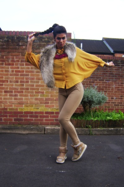 mustard new look blouse - camel fur H&amp;M scarf