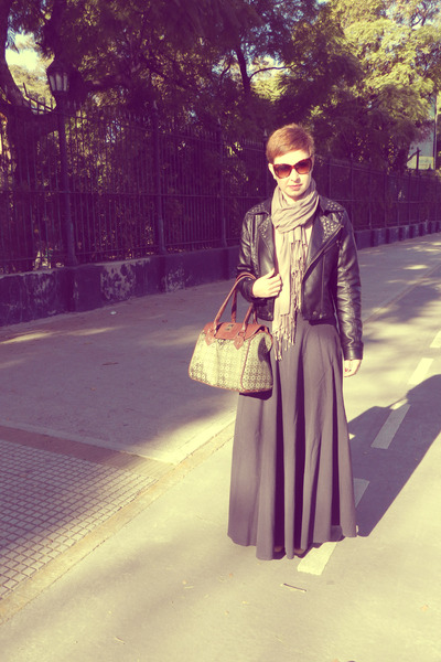jacket - boots - scarf - bag - cat eye sunglasses - skirt