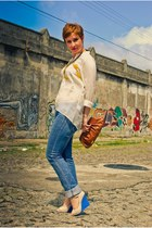 blouse - jeans - bag - ear cuff earrings - necklace - melissa wedges