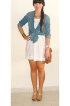 navy Pull and Bear blouse - white Bershka dress - camel Pull and Bear bag