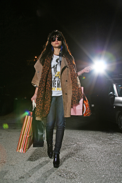 Zara coat - ihateu t-shirt - Louis Vuitton scarf - Miss Sixty pants - H&M earrin
