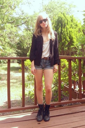 black motorcycle Forever 21 shoes - black button up Forever 21 shirt - light blu
