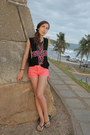 Black-cross-urban-outfitters-top-salmon-jeans-mini-cubus-shorts