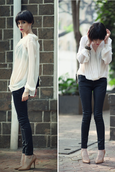 ivory Let them stare blouse - black Mango jeans - neutral Zara heels