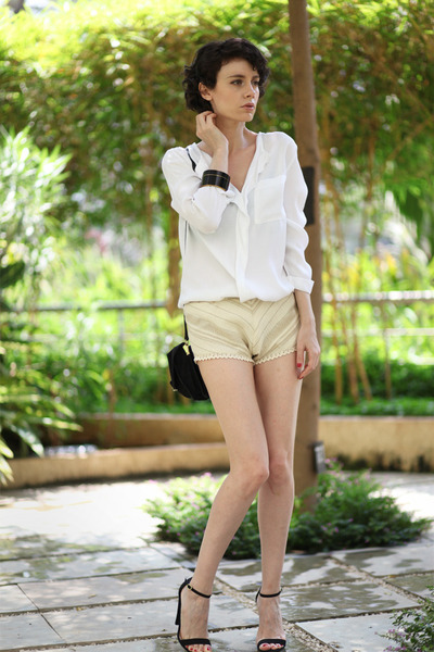 white asos blouse - beige Let them starecom shorts - black asoscom heels
