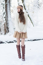 off white Claudie Pierlot sweater - light brown D&G boots - tan H&M hat
