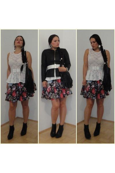 floral Amisu skirt - white studded Mango belt