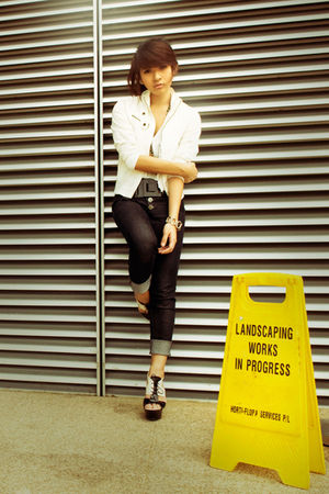 white jacket - black jeans - black Charles & Keith shoes