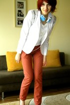white diy needles Depot 96 blazer - crimson Zara wedges - brick red pull&bear pa