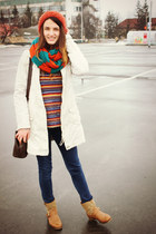 wool vintage sweater - mustard leather no name boots - cream cotton Str coat