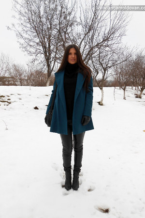 teal Zara coat - black Bershka pants