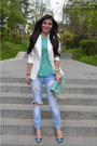 Bershka-jeans-off-white-bershka-blazer-aquamarine-new-look-bag