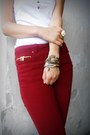 Crimson-zara-pants-camel-bracelet-white-donna-lewis-top