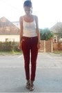 Crimson-zara-pants-white-donna-lewis-top-camel-bracelet